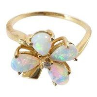 Vintage Opal and Diamond Flower Ring in 14 Karat Gold