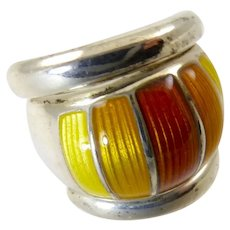 David-Andersen Sterling Ring with Orange and Yellow Enamel