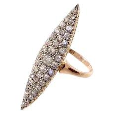 Long Antique Diamond Navette Ring set in 18 Karat Gold