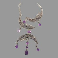 Rachel Gera Modernist Silver Necklace with Amethyst
