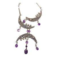 Rachel Gera Modernist Silver Necklace with Amethyst