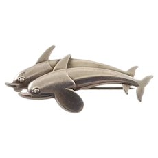 Georg Jensen Art Deco Dolphins Brooch 317