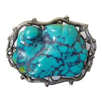 Large Chinese Turquoise and Silver Brooch