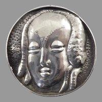 Art Deco Silver Brooch of Stylized Lady's Head