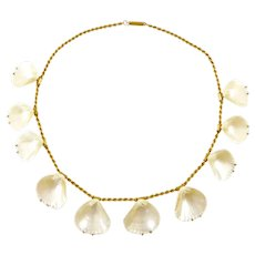 Victorian Shell and 14 Karat Gold Necklace