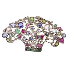 Large Giardinetti Brooch with Multicolored Gemstones
