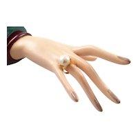 Huge Cultured Pearl Ring Set in 18 Karat Gold