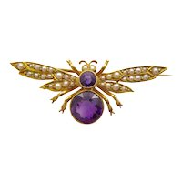 Antique Insect Brooch in 15 Karat Gold with Amethyst and Seed Pearls in Original Box