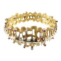 18 Karat Yellow and White Gold Modernist Bracelet with Diamonds and Rubies