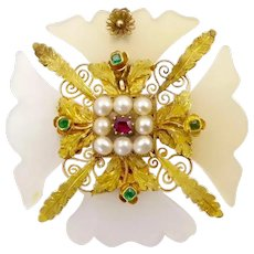 Georgian Chalcedony Maltese Cross Brooch / Pendant with Emeralds, Pearls, and Ruby