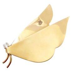 Birks Gold and Diamond Modernist Butterfly Brooch