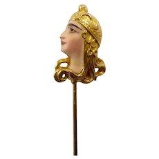 Art Nouveau 14 Karat Gold Enameled Byzantine Lady Head Stick Pin