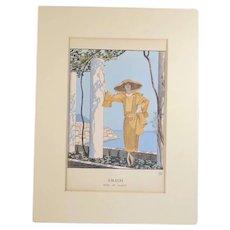 Gazette du Bon Ton Pochoir from 1922 Amalfi, Robe de Worth by George Barbier