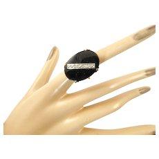 Oversized Art Deco Onyx and Diamond 10 Karat Gold Ring