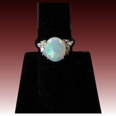 Luminous Opal and Diamond Ring Set in Platinum