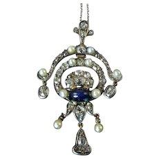 Victorian Diamond, Sapphire, and Pearl Pendant