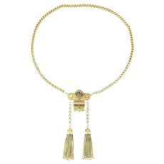 Victorian 14 Karat Gold Necklace with Tassels, Black Enamel, and Seed Pearls