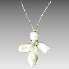 Edwardian Baroque Pearl Flower Pendant Accented with Diamonds