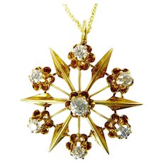 Edwardian 14 Karat Yellow Gold and Diamond Brooch Pendant