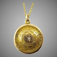 Art Nouveau Gold Locket with Engraved Flowers and Diamond
