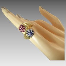 Retro Ruby and Sapphire Bypass Ring in 14 Karat Gold