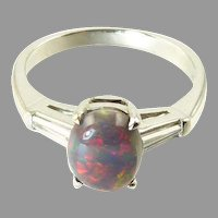 Vintage Black Opal, Diamond, and Platinum Ring