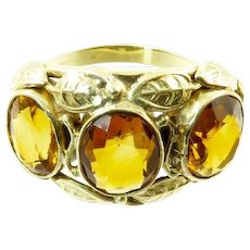 Antique Arts and Crafts Citrine and 14 Karat Gold Ring