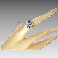 Antique French Sapphire and Diamond Ring set in Platinum and Gold