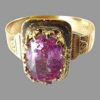 Victorian Pink Sapphire Ring in 14 Karat Gold