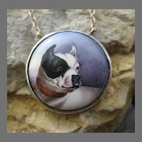 Rare Victorian French Bulldog Enamel Pendant Silver & 14k Necklace