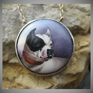Rare Victorian French Bulldog Enamel Pendant Silver & 14k Necklace