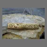 Victorian Mizpah Gold Bar Necklace 9k & 14k