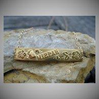Victorian Mizpah Gold Bar Necklace 9k & 14k