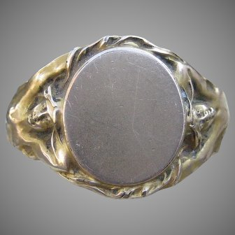 Vision to Behold Art Nouveau Signet Ring 14k