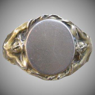 Vision to Behold Art Nouveau Signet Ring 14k