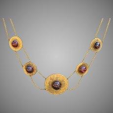 Standout Etruscan Revival Garnet Cabochon Disc Necklace 14k