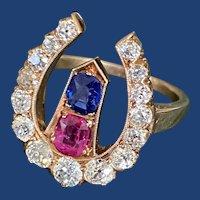 Antique Diamond Horseshoe Ruby Sapphire Nail Ring