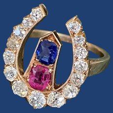 Antique Diamond Horseshoe Ruby Sapphire Nail Ring