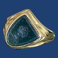 Victorian Angled Shield Bloodstone Locket Intaglio Ring 9k