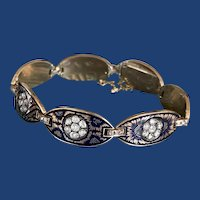Victorian Enamel Rose Cut Diamond Bracelet 14k