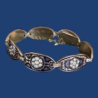 Victorian Enamel Rose Cut Diamond Bracelet 14k