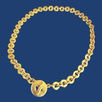 Retro '90s Pomellato Disc Toggle Necklace 18k
