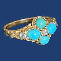 Victorian Turquoise Ring 15k