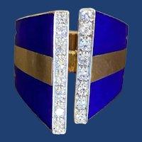 '70s Blue Enamel Diamond Ring 18k