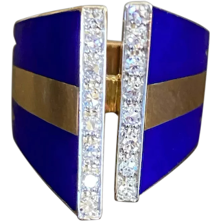 '70s Blue Enamel Diamond Ring 18k