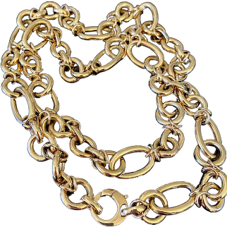 Vintage Mixed Oval & Round Link Long Chain 18k