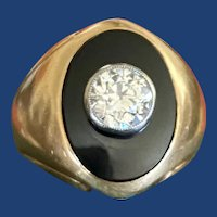 Antique Diamond & Onyx Signet Ring 14k