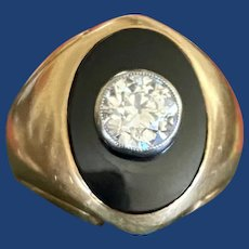 Antique Diamond & Onyx Signet Ring 14k