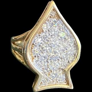 70s Spade Diamond Ring 14k