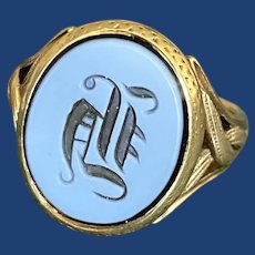 Victorian H Agate Signet Ring 18k